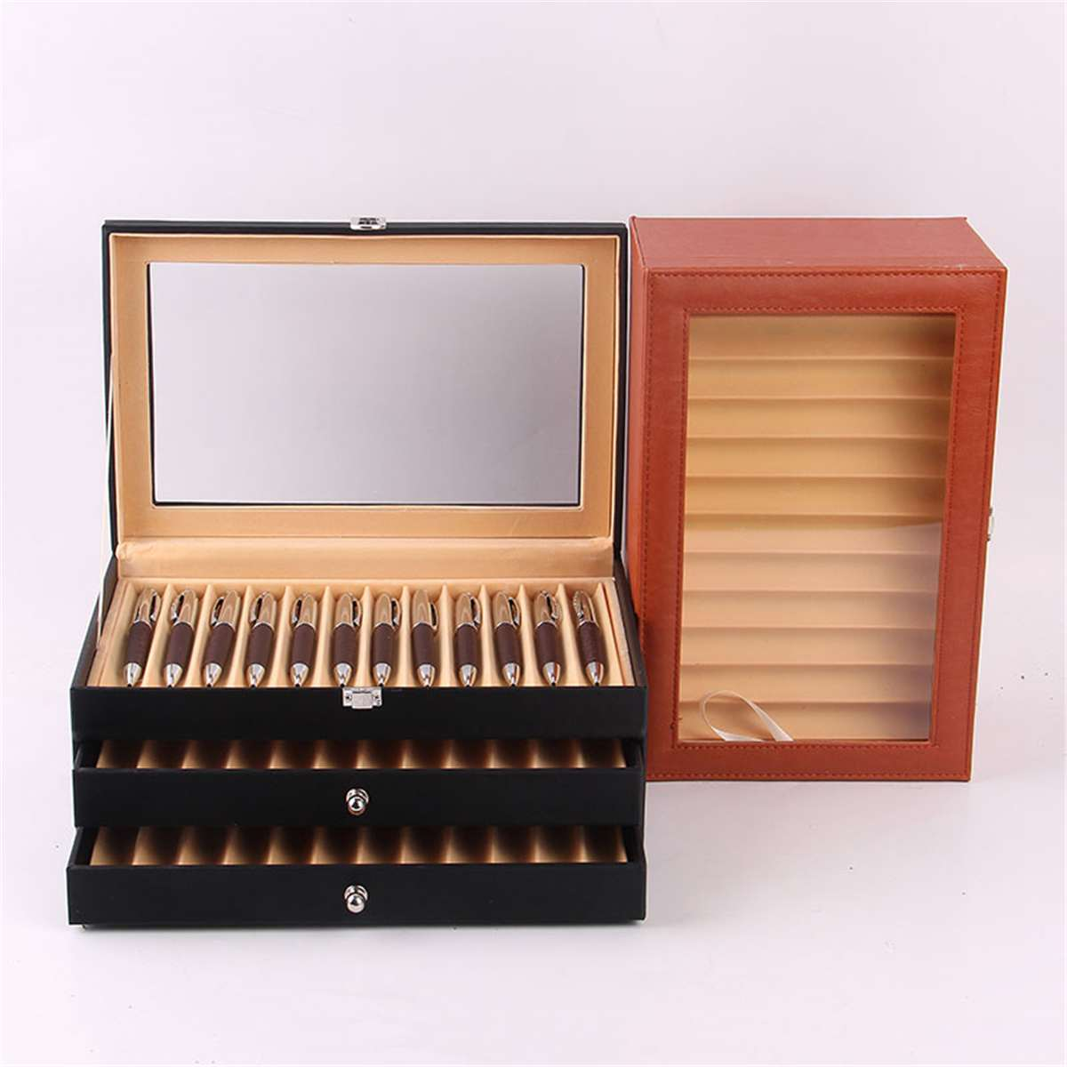 36 Pens Holders 3 Layer Pen Box Large-capacity PU Leather  Box Fountain Pen Pencil Case Display Desktop Storage Case