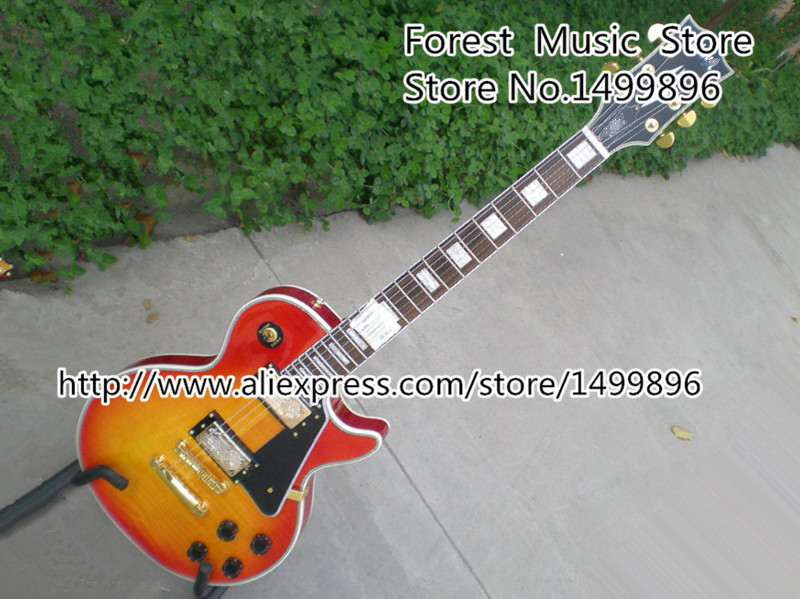 Hot Selling LP Custom Electric Guitars Cherry Sunburst Tiger Flame Finish Body Guitarra Kits Lefty Available