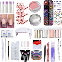 Manicure Set Tool UV LED Lamp Poly Gel 4 Pcs Matte Nail Foils 3D Striping Tape 12 Color Rhinestones Decorations and So On