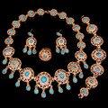 Preto vermelho azul cores Do Partido Banhado A Ouro Conjuntos de Jóias de Moda Nupcial Moda Colar Brincos Pulseira conjunto anel