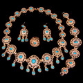 Red black blue colors  Gold Plated  Party Jewelry Sets Fashion Bridal Fashion Necklace Earrings Bracelet ring set