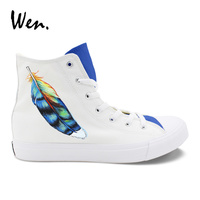 Wen Hand Painted Original Shoes Gorgeous Feather High Top Design Custom Unisex Canvas Sneakers Painting Rubber