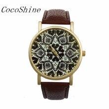 CocoShine A-511 Mulheres Retro Geometria Impresso Faux Leather Analógico Quartz Relógio de Pulso por atacado Frete grátis