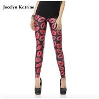 Jocelyn Katrina Nieuwe herfst en winter gym yoga broek lady gedrukt strakke leggings rode lip print hoge taille elastische voeten broek