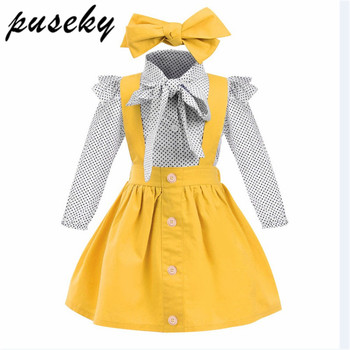 2018 Anak-anak Balita Bayi Anak Perempuan Pakaian Set Polka Dot Ikatan Simpul Kemeja Atasan + Tombol Suspender Rok Pakaian 3 Pcs Pakaian