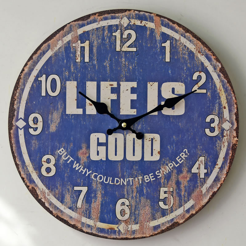 Newest Vintage Life Is Good Digital Wooden Wall Clocks Antique Blue Clock For Livingroom Kitchen Bedroom In From Home Garden On