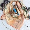 2017 de La Moda de Primavera de Las Mujeres Venta Caliente de La Bufanda Mantón de las Bufandas de Seda de Mora Femenina Bufanda de Seda Larga de Champán 110*110 cm SA