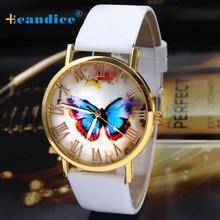 Splendid 2016 New Business Quartz watch  Womens Fashion Butterfly Style Leather Band Analog Quartz Wrist Watch