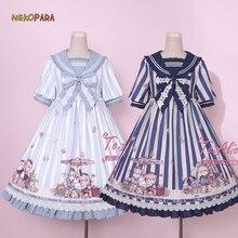 29e2803b998 Navy Bear Cute Women s Lolita OP Dress Summer Short Sleeve Bubble Dress  Cute Big Bow One