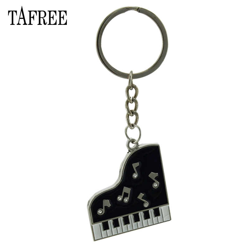 TAFREE Piano Pendant Keychain Alloy Keyring Musical keyboards Style Key Chain Holder Gift wholesale Fashion Accessories 2018 image