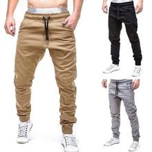 2019 hombres pantalones de chándal pantalones casuales de algodón Pantalones slim fit cordón Harem Pantalones Casual elástico bolsillos pantalones 3,22