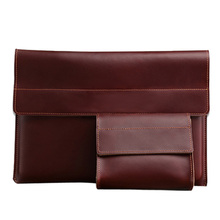 2 Pieces/Set Nature Genuine Leather Document Bag (Big Size:39*27 cm,Small Size:16*13 cm) Paper File Storage Joy Corner