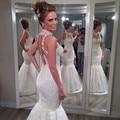 2016 Beaded High Neck Mermaid Wedding dresses Plus Size Sleeveless See Through Back Bridal Gown Robe Mariage Vestidos de novia