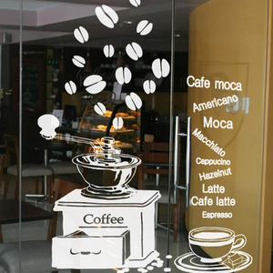dctal coffee shop wall sticker espresso coffee machine coffee lettering mural art wall sticker. Black Bedroom Furniture Sets. Home Design Ideas