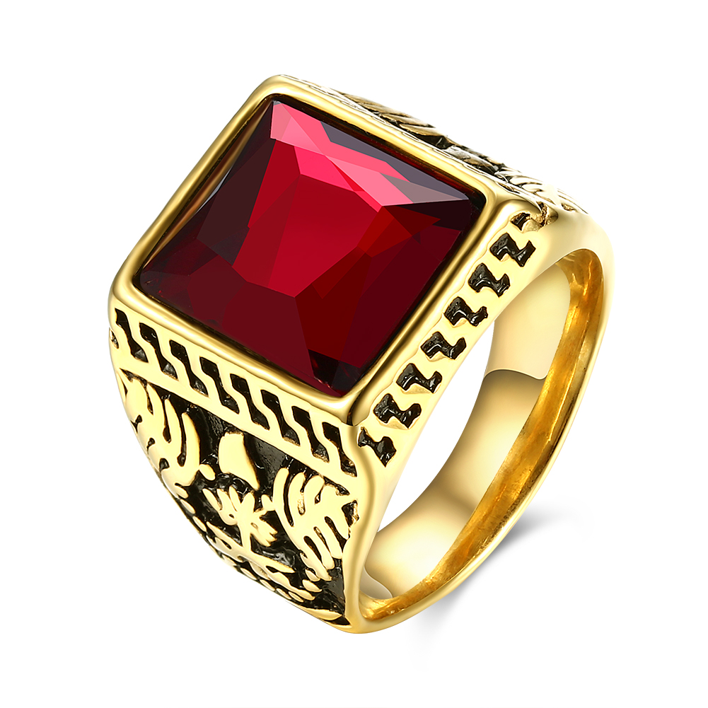 Signet-Rings Square-Stone Graduation Party-Jewelry Stainless-Steel Vintage Gold-Color