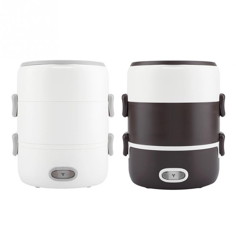 Caja de almuerzo de calefacción eléctrica portátil de 3 capas cocina calentador de alimentos con contenedor de revestimiento de cerámica caja de almuerzo enchufe UE 220 V-in Fiambreras from Hogar y Mascotas    2