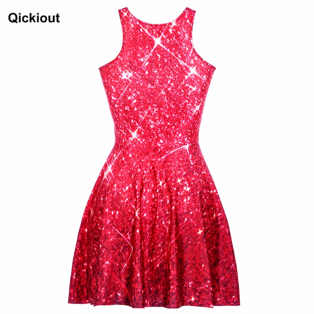 US $8.54 30% OFF|Qickitout Dress Hot Product New Women\'s Red Star shining  Galaxy Dress Digital Printing SKATER DRESS Vestido Plus Size-in Dresses  from ...