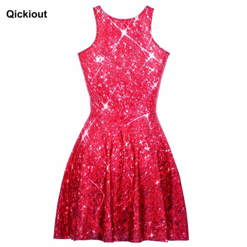 Women\'s Red Star shining Galaxy Dress Digital Printing SKATER DRESS ...