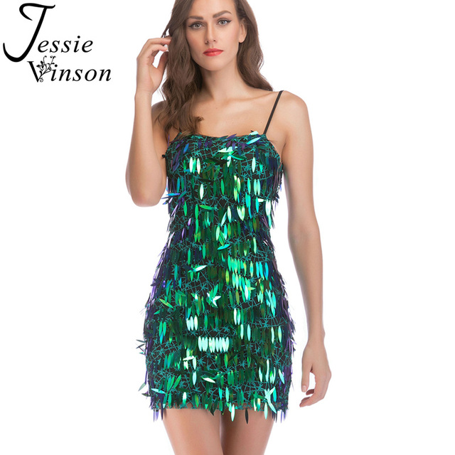 Jessie Vinson Sleeveless Backless Green Sequin Strap Dress Women Sexy  Adjustable Straps Bodycon Party Dress Short Mini Dress