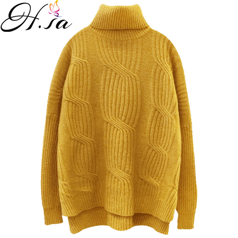 H.SA 2018 Winter Women Sweater Jumpers Turtleneck Pullovers Oversized Knit Sweater Twisted Warm Thick Korean christmas sweater