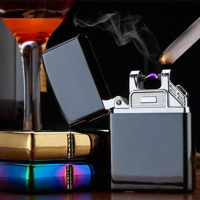 Portable USB Électronique Briquet Jet Flamme Allume Rechargeable Coupe-Vent Plasma Arc Léger Sans Flamme Encendedor de Fumer Outils