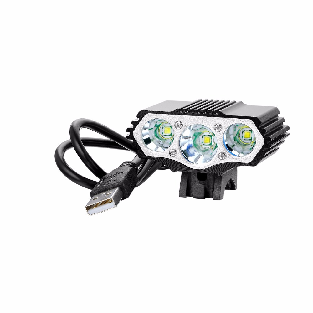 USB Light F3 6000LM 3x T6 USB LED Headlamp 4 Modes