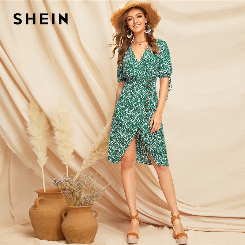 SHEIN Boho Green Knot Cuff Split Hem Dalmatian Tea Dress Spring Women Deep V Neck High Waist Bishop Sleeve Elegant Dresses