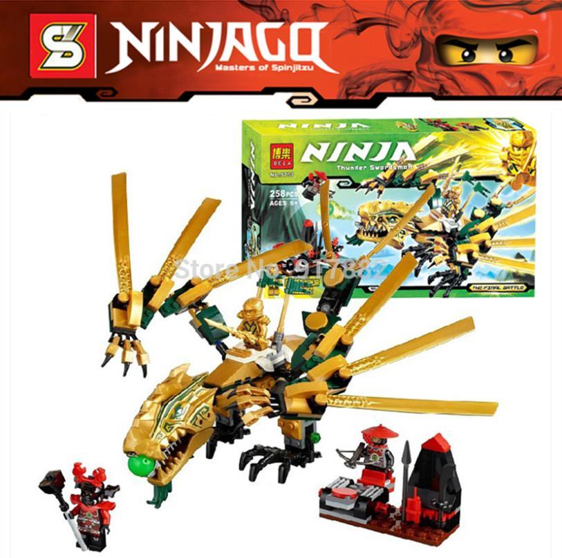 258pcs Ninjago Set Lloyd The Golden Dragon Sphere Attack