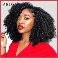 Afro Kinky Curly Lace Front Human Hair Wigs Pre Plucked Bleached Knots 130% Density Brazilian Frontal Wigs Remy Prosa