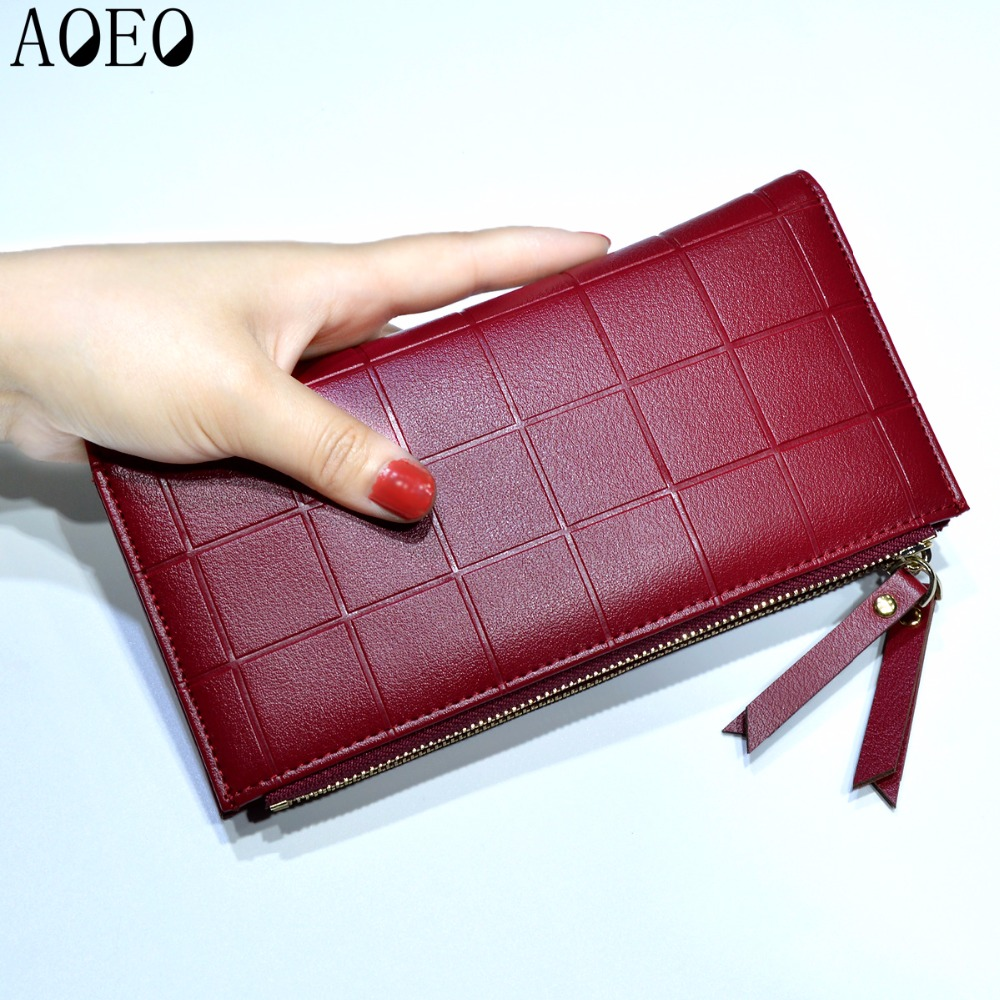 AOEO Womens Wallets and Purses Ladies Long 2 Zipper Coin Pocket 5.5 Phone Lady 10 Card Holder pu Leather Red Girls Wallet Female 2