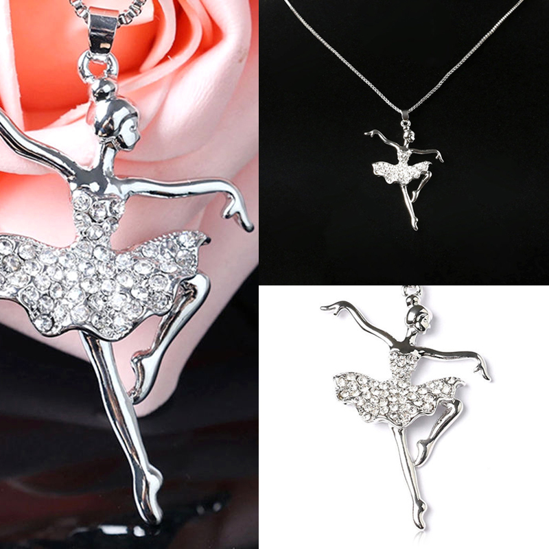 Chic dancing choker necklaces & pendant trendy shiny crystal ballet girl statement necklace fashion jewelry for women gift