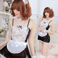 2017 Sexy Lingerie Women Porno Sexy French Maid Lingerie Cosplay Costume Princess Dress Sexy Maid Uniform Suit Game Uniform Size