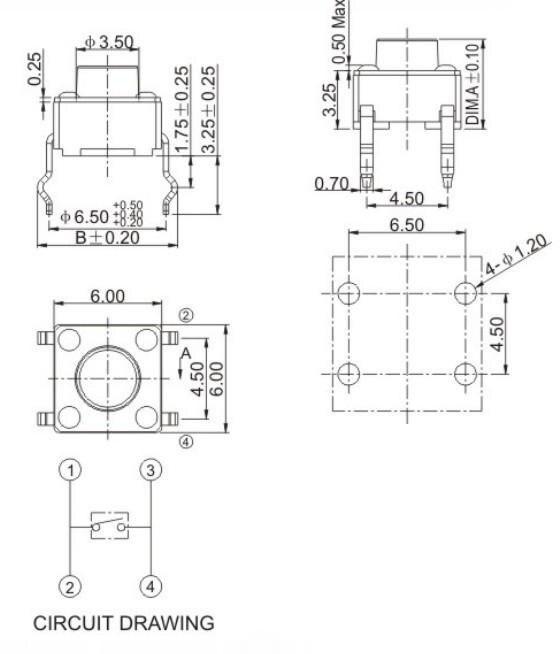 Mcigicm кнопочный переключатель Микро-Электрический Тактильные Кнопочный переключатель Мгновенный Такт DIP сквозное отверстие 4PIN комплект 6*6 м...