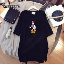 2019 Summer Plus Size Dresses Women Cute Donald Duck Mickey Mouse Cartoon Print Short Sleeve Casual Loose Mini Dress цены