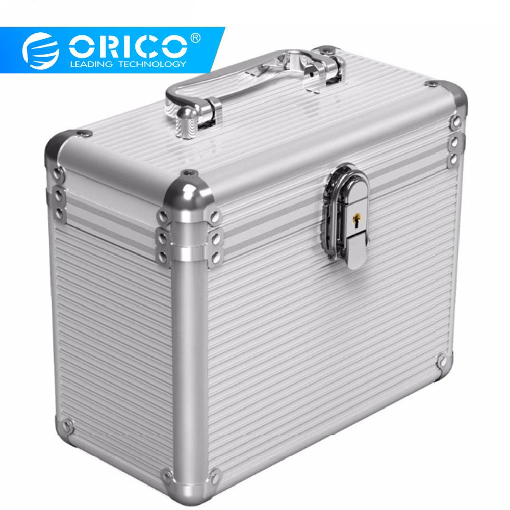 Aluminum 2.5 Inch//3.5 Inch Hard Drive Protective 6 Bay Storage Box with Lock