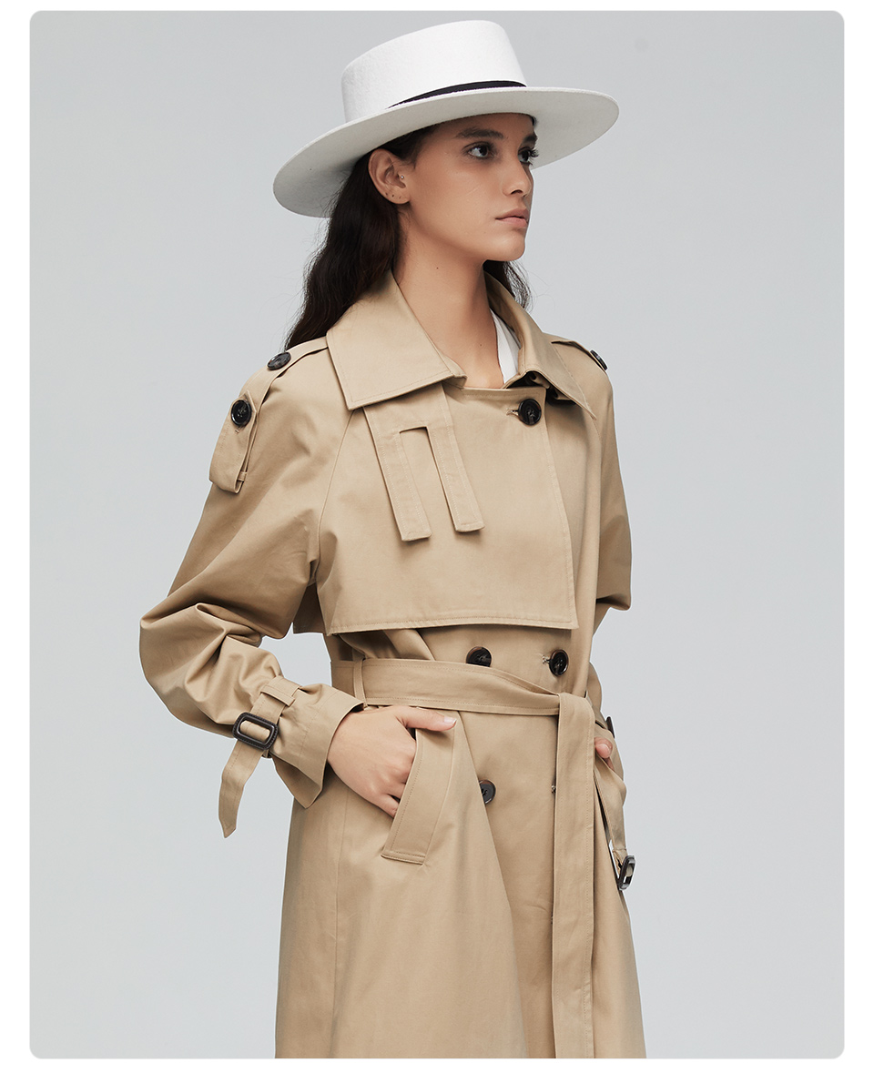 JAZZEVAR 19 New arrival autumn top trench coat women double breasted long outerwear for lady high quality overcoat women 9003 12