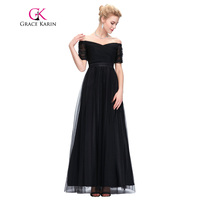 Grace Karin Long Prom Dress 2017 Sexy Off Shoulder Tulle Red Black Boat Neck Robe De Soiree Short Sleeve Party Evening Dress