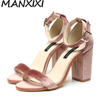 High Quality Women Pumps Sandals Velvet Shoes Ankle Strap Block Thick High Heel Wedding Bridal Dress