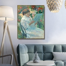 Woman Reading in a Garden by Cassatt Wall Art Canvas Poster Print Painting Decorative Picture for Living Room Home Decor