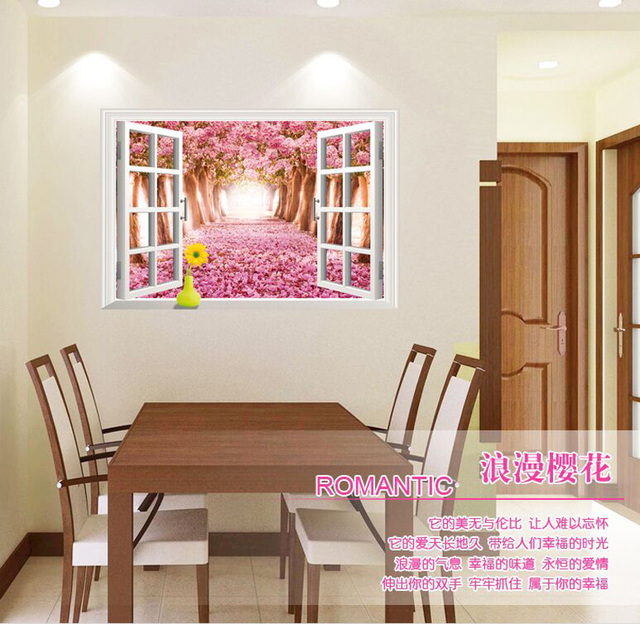 Wall paintings 3D three dimensional wall stickers window cherry ...