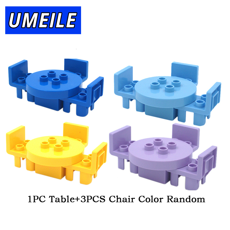 UMEILE Duplo Table Chair Cradle Lou Yi Case Building Block Accessories Home Furnishing Decoration Brick Play House Girl Toys