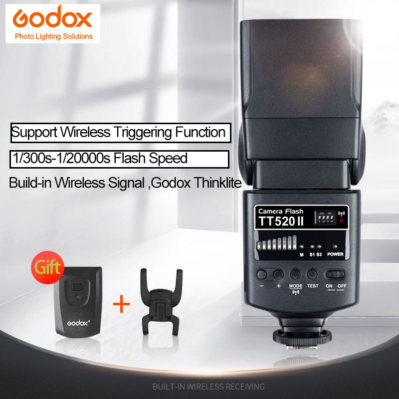 Godox TT520ii flah Built-in Wireless Signal, Godox Thinklite 433MHz GN33 Camera Flash Speedlite Light For Canon Nikon Camera вспышка godox thinklite tt600