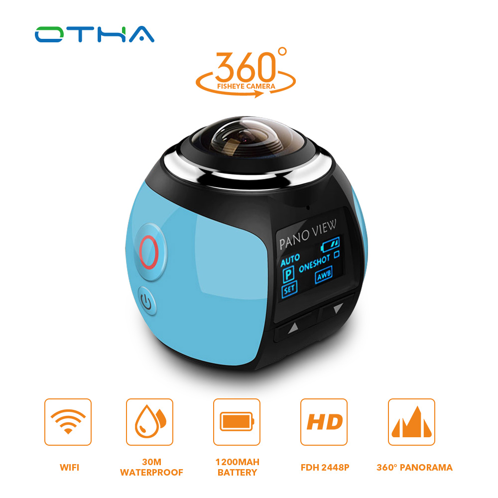 OTHA 360 Camera Ultra HD 4K Panoramic Camera Build in WI-FI 360 Degree Video Camera Waterproof Sport & Action Driving VR Camera gizcam 30m underwater waterproof 360 degree panoramic video camera camcorder ultra hd with waterproof accessories