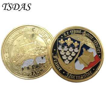 Złota francja moneta w okrągłym kształcie, niestandardowe wyzwanie moneta w plastikowym pudełku na pamiątki i wystrój domu