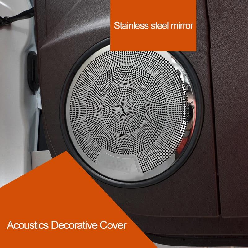 QHCP Car Acoustics Audio Speaker Sound Cover Moldings Interior Decoration Accessories Stainless Steel For Lexus RX300 RX450 200T