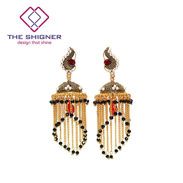 THE SHIGNER Indian Tradition Jewelry Bombay Fashion Stylish Party Wear Gold  Color Crystal Pearl Jhumki Jhumka 20df606ee150