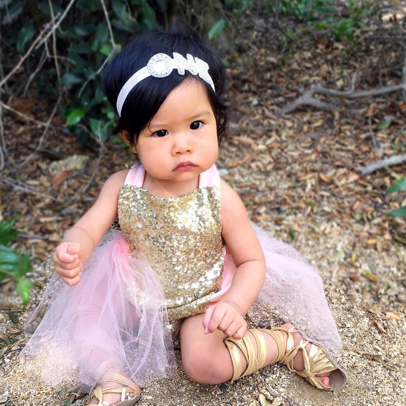 16 New Princess Baby Girls Sequins Romper Summer Sunsuit Outfits Clothes 0-24M Newborn Baby Girl Clothes Set Overalls 2