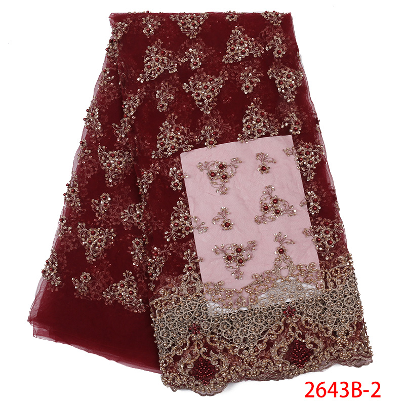 French Net Lace Fabric High Quality,Handmade Beads Tulle Lace, African Lace Fabric With Sequins For Nigerian Party KS2643B-2