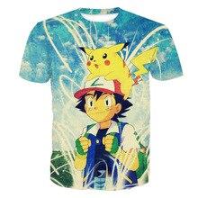 Harajuku Style Cartoon Pokemon GO Pikachu 3D Print Kawaii T shirt Men Casual Streetwear T-shirt Tee Boys Crewneck Tshirt Clothes