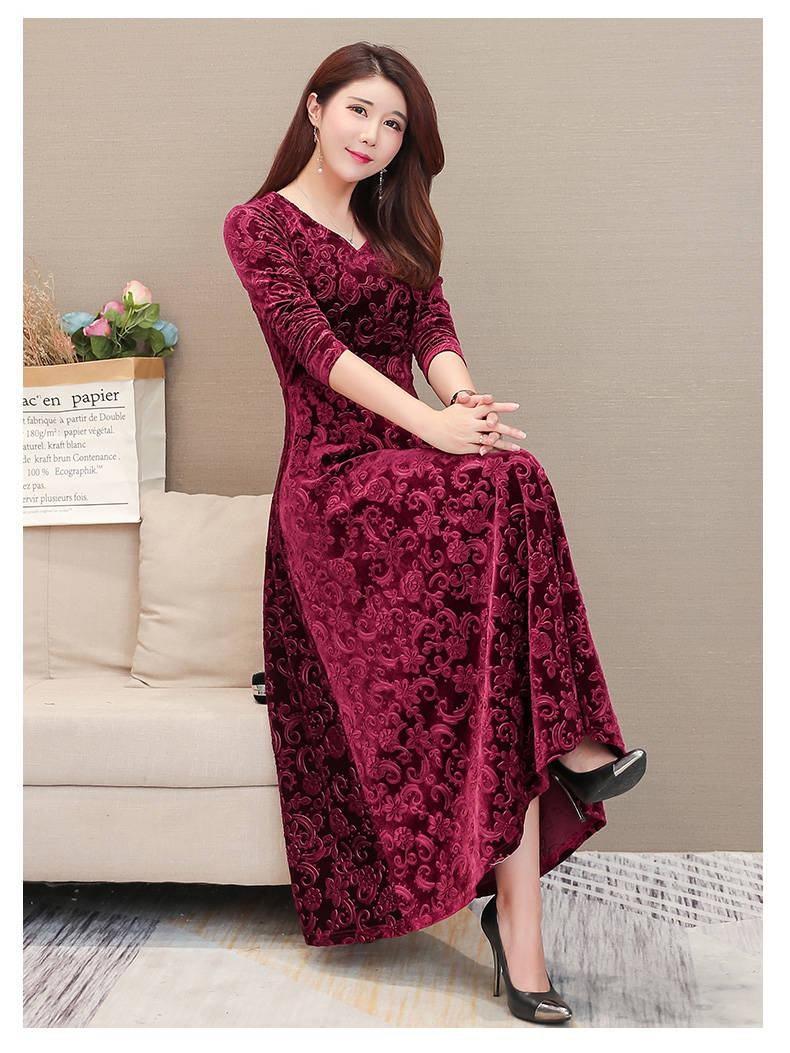 19 Women Autumn Winter High Quality Casual Vintage Velvet Bodycon Long Dresses Femme Elegant V-Neck Slim Party Robe Dress W40 4